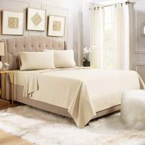 """Empyrean Bedding 14"""" - 16"""" Deep Pocket Fitted Sheet 3 Piece Set - Hotel Luxury Soft Double Brushed Microfiber Top Sheet - Wrinkle Free Fitted Bed Sheet, Flat Sheet and 1 Pillow Case - Twin XL, Beige"""