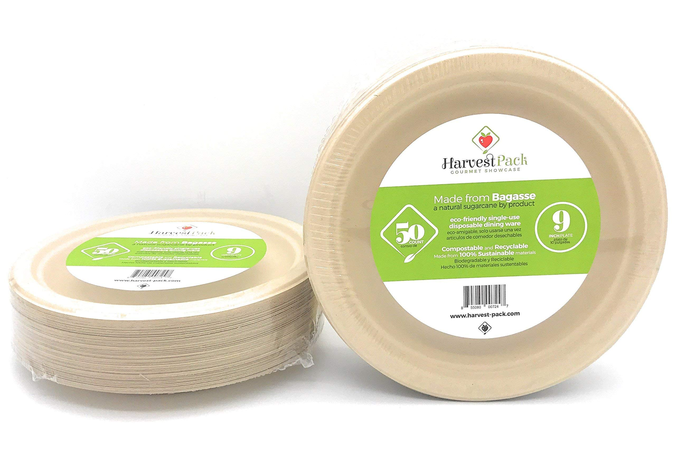 [50 COUNT] 9 in Round Disposable Plates - Made From Natural Plant Fibers Contemporary Eco Friendly Paper Plastic Alternative 100% by-product