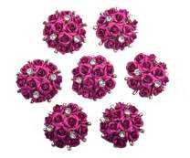 KAOYOO 10Pcs Aluminum Rose Flower Embellishments Buttons with Crystal Rhinestone,Sew on Buttons for DIY,Clothing,Shoes(21mm)