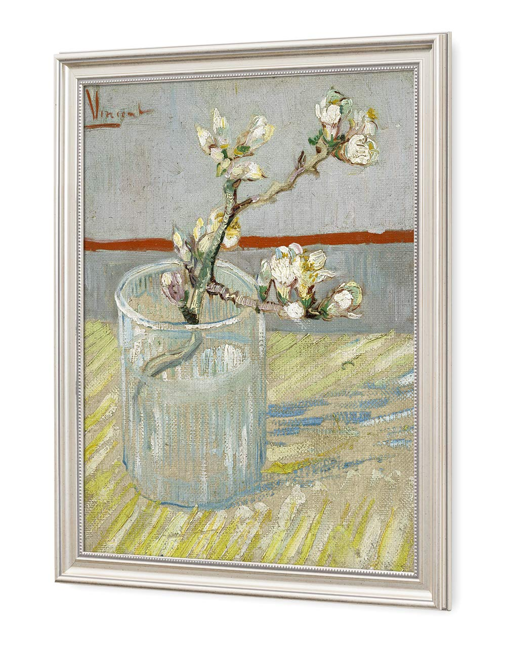 DECORARTS - Sprig of Flowering Almond Blossom in a Glass, Vincent Van Gogh Art Reproduction. Giclee Print& Framed Art for Wall Decor. 20x16, Framed Size: 23x19