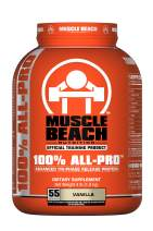 Muscle Beach Nutrition 100% All-Pro Advanced Tri-Phase Release Protein (Vanilla, 4lb) Whey Protein Isolate, Micellar Casein, Whey Protein Concentrate