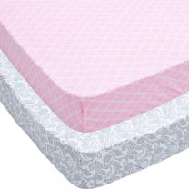 Jomolly Crib Sheets, 2 Pack Pink Quatrefoil & Floral Fitted Soft Jersey Cotton Cover