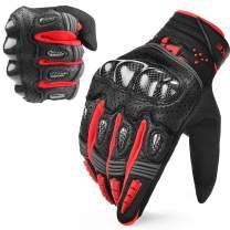 INBIKE Motorcycle Gloves Hard Knuckle Gloves Motorbike Gloves Men Breathbale Carbon Fiber Red XX-Large IM803
