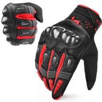 INBIKE Motorcycle Gloves Hard Knuckle Gloves Motorbike Gloves Men Breathbale Carbon Fiber Red Medium IM803
