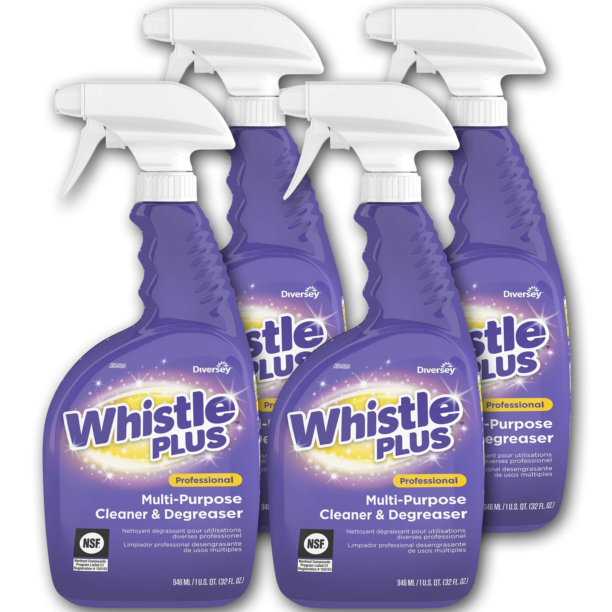Diversey Whistle Plus Professional Multi-Purpose Cleaner and Degreaser, 32 oz. Capped Spray Bottle (4 Pack), Model:CBD540571