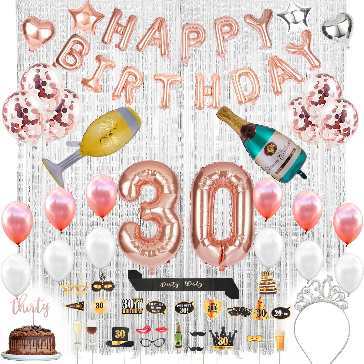 30th Birthday Decorations With Photo Props 30 Birthday Party Supplies 30 Cake Topper Banner 30 Birthday Tiara And Sash Rose Gold Confetti Balloons For Her Silver Curtains Backdrop Props 30th Bday