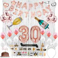 30th Birthday Decorations with Photo Props|30 Birthday Party Supplies |30 Cake Topper| Banner|30 Birthday Tiara and Sash|Rose Gold Confetti Balloons for her|Silver Curtains Backdrop Props 30th Bday