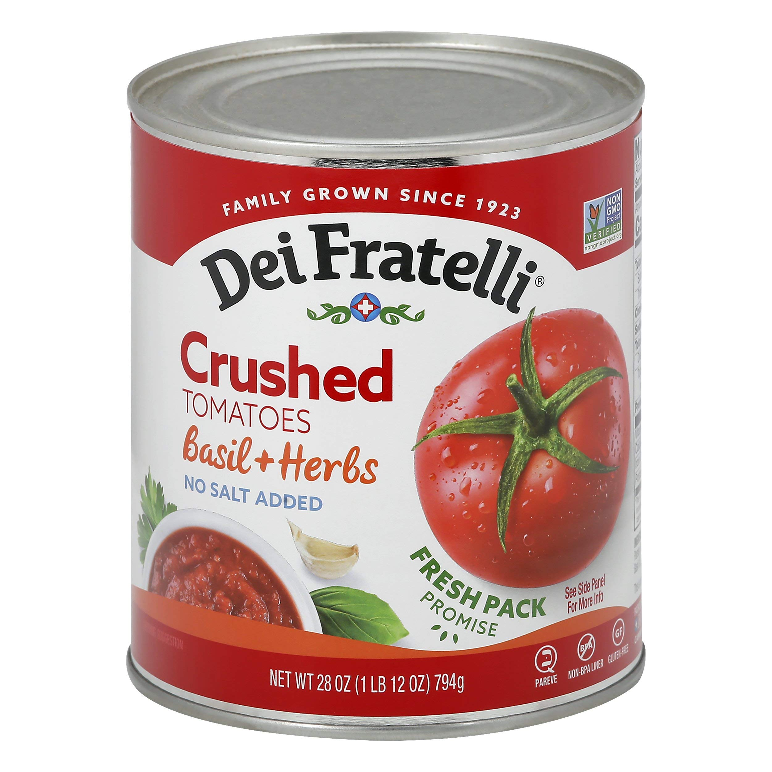 Dei Fratelli Crushed Tomatoes with Basil & Herbs - All Natural - No Water Added - Never from Tomato Paste - 5th Generation Recipe (28 oz. cans; 6 pack)