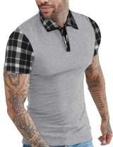 COOFANDY Mens Casual Short Sleeve Polo Shirts Slim Fit Zipper Plaid Polo T Shirts