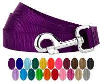 Country Brook Petz - Vibrant 25 Color Selection - Nylon Dog Leash (5/8 Inch Wide, 4 Foot, Purple)
