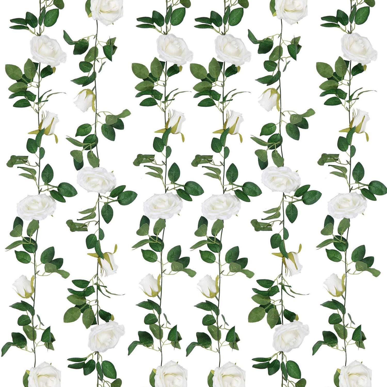 SHACOS Artificial Rose Garlands Rose Vines Leaves Hanging Rose Flower Vine Home Wedding Party Decor (White, 2)