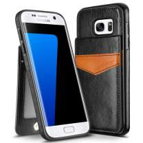 HianDier Wallet Case for Galaxy S7 Edge Case Lightweight Card Holder Case Kickstand Flip Cover Protective PU Leather Dual Layer Soft ID Pocket Compatible with Galaxy S7 Edge, Black