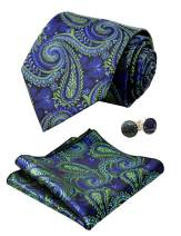 Alizeal Mens Solid Color Floral Tie, Handkerchief and Cufflinks Set