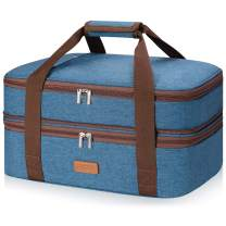 """LHZK Double Decker Insulated Casserole Carrier for Hot or Cold Food, Expandable Hot Food Carrier, Lasagna Holder Tote for Potluck Parties, Picnic, Beach, Fits 9""""x13"""" or 11""""x15"""" Baking Dish (Blue)"""