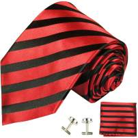 Paul Malone Striped Silk Necktie with Pocket Square and Cufflinks