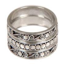 NOVICA .925 Sterling Silver Handmade Stacking Rings, Together' (Set of 3)