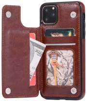 iPhone 11 Pro Max Wallet Case, iPhone 11 Pro Max Credit Card Holder, 6.5Inch, SAVYOU Drop Protection Durable Leather Shockproof Cover Card Slot Holder with Kickstand Double Magnetic Clasp (Brown)