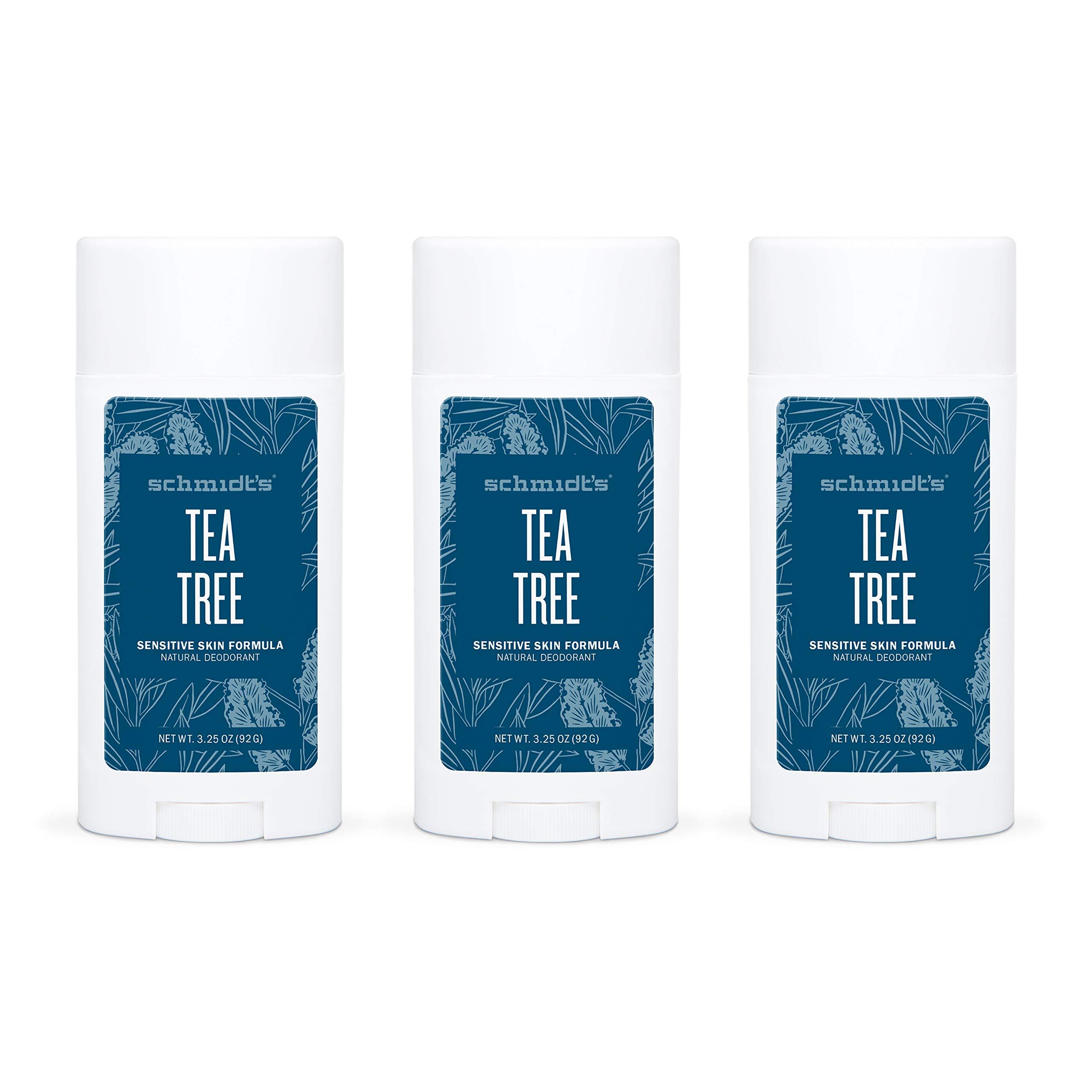 Schmidt's Aluminum Free Baking Soda-Free Sensitive Skin Natural Deodorant For 24 Hour Odor Protection and Freshness Tea Tree Vegan, Certified Cruelty Free, 3.25 oz Pack of 3