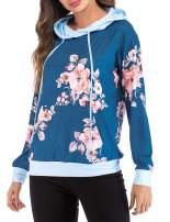 Chunoy Woman Long Sleeve Drawstring Tops Floral Print Pocket Pullover Hoodie