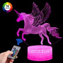 Palawell Unicorn Gifts Unicorn Night Light for Girls, Led Illusion Lamp Unicorn Toys for Girls Birthday Gift, Kids Toys Room Decor Lighting as Christmas Gifts - 16 Color Bedside Lamp Remote Control