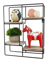 Spiretro Wall Mount Rectangle Metal Floating Shelf, Storage Rack, Rustic Torched Wood with Espresso Modern Bracket to Organize Decorative and Display for Living Room Bedroom Kitchen Bathroom Closet