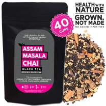 The Tea Trove Assam Black Masala Chai Tea Loose Leaf, 100% Natural , Organic Spices Cinnamon, Cardamom, Clove and Ginger for rich and flavorful Hot Indian Tea or Iced Black Chai Tea- (3.53oz,40 Cups)