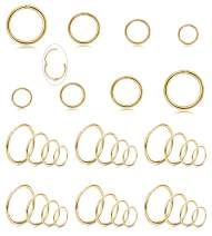 LOYALLOOK 16-18G 32PCS 316L Stainless Steel Hinged Clicker Segment Nose Ring Hoop Cartilage Tragus Sleeper Earrings Body Piercing Jewelry 6-12mm