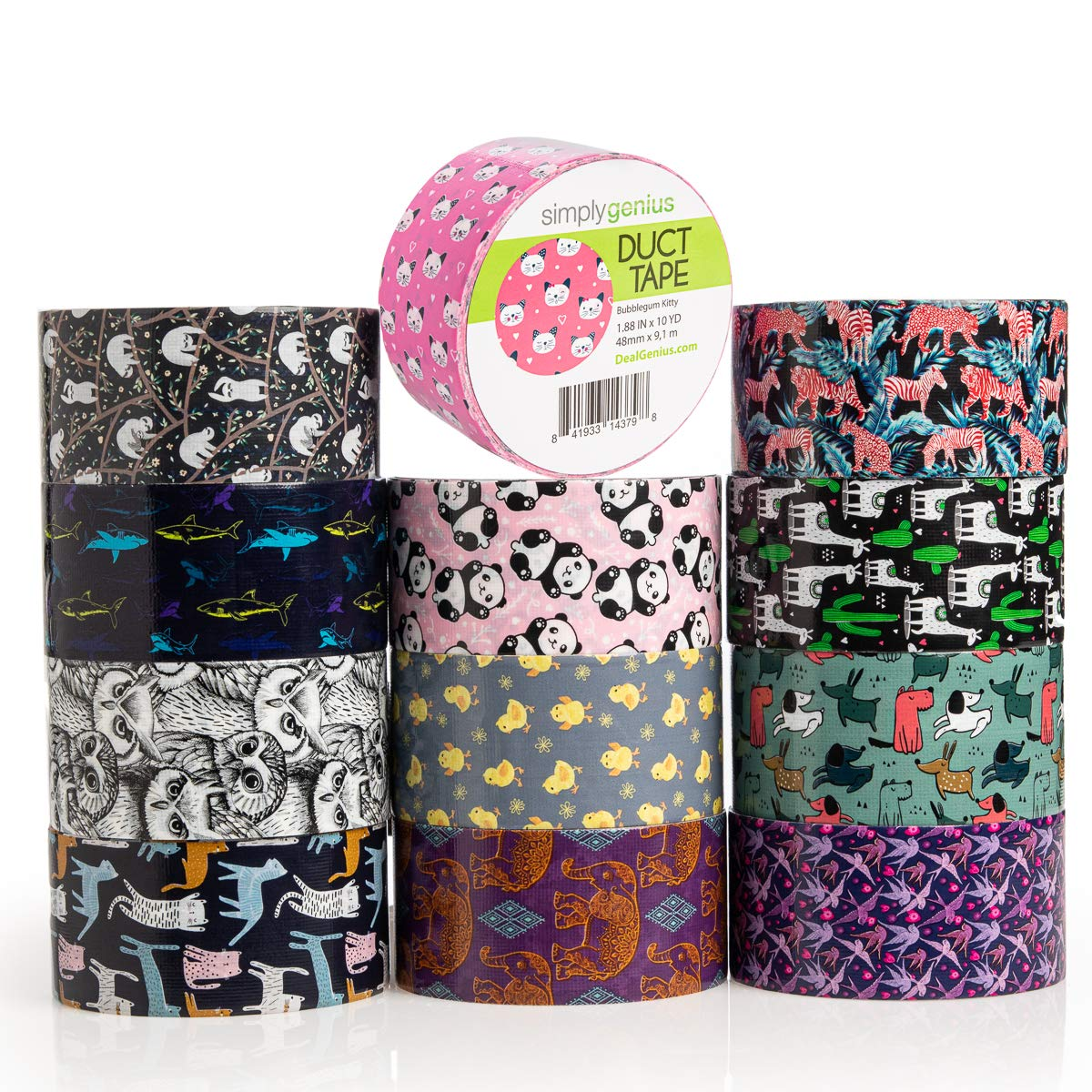 Simply Genius (12 Pack) Patterned and Colored Duct Tape Variety Pack Tape Rolls Craft Supplies for Kids Adults Patterned Duct Tape Colors, Animal Patterns