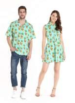 Couple Matching Hawaiian Luau Cruise Outfit Shirt Vintage Dress Halloween Pineapple Skull