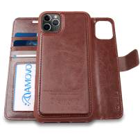 AMOVO Case for iPhone 11 Pro (5.8'') [2 in 1] iPhone 11 Pro Wallet Case Detachable [Vegan Leather] [Hand Strap] [Stand Feature] iPhone 11 Pro Flip Folio Case Cover with Gift Box Package (Brown)