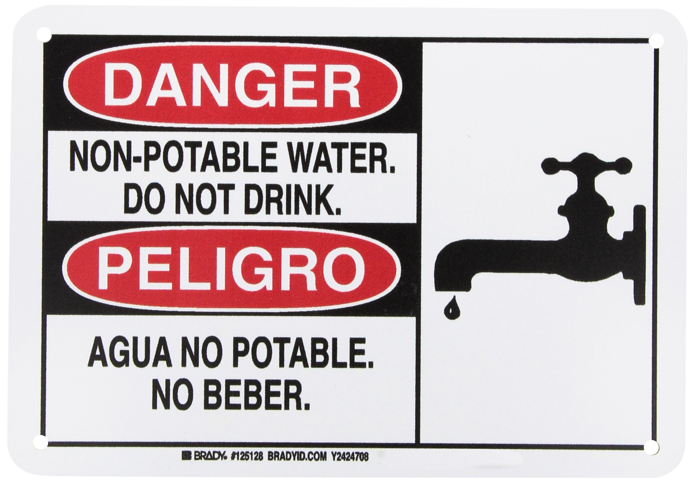 """Brady 125128 Bilingual Sign, Legend""""Non-Potable Water. Do Not Drink./Agua No Potable. No Beber."""", 7"""" Height, 10"""" Width, Black and Red on White"""
