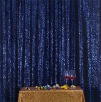 Eternal Beauty Navy Blue Sequin Wedding Backdrop Photography Background Party Curtain, 5Ft X 7Ft