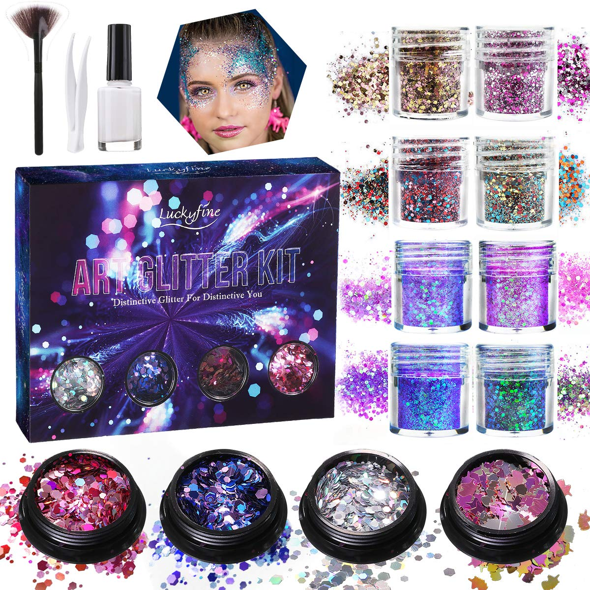 Chunky Glitter, Luckyfine Unicorn Chunky Glitter Makeup Chunky Glitter Sequins, for Nails Face Eyeshadow Lips Hair Body, Included Glue and Brush -12 Jars