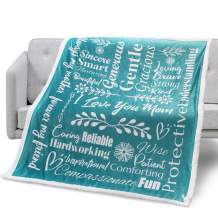 Mami Home - I Love You Mom Blanket Gift for Loving & Inspiring Mom   Mom Gifts from Daughter or Son   Thoughtful Uplifting Gift for Mom Birthday, Mothers Day (Teal, Sherpa Fleece)