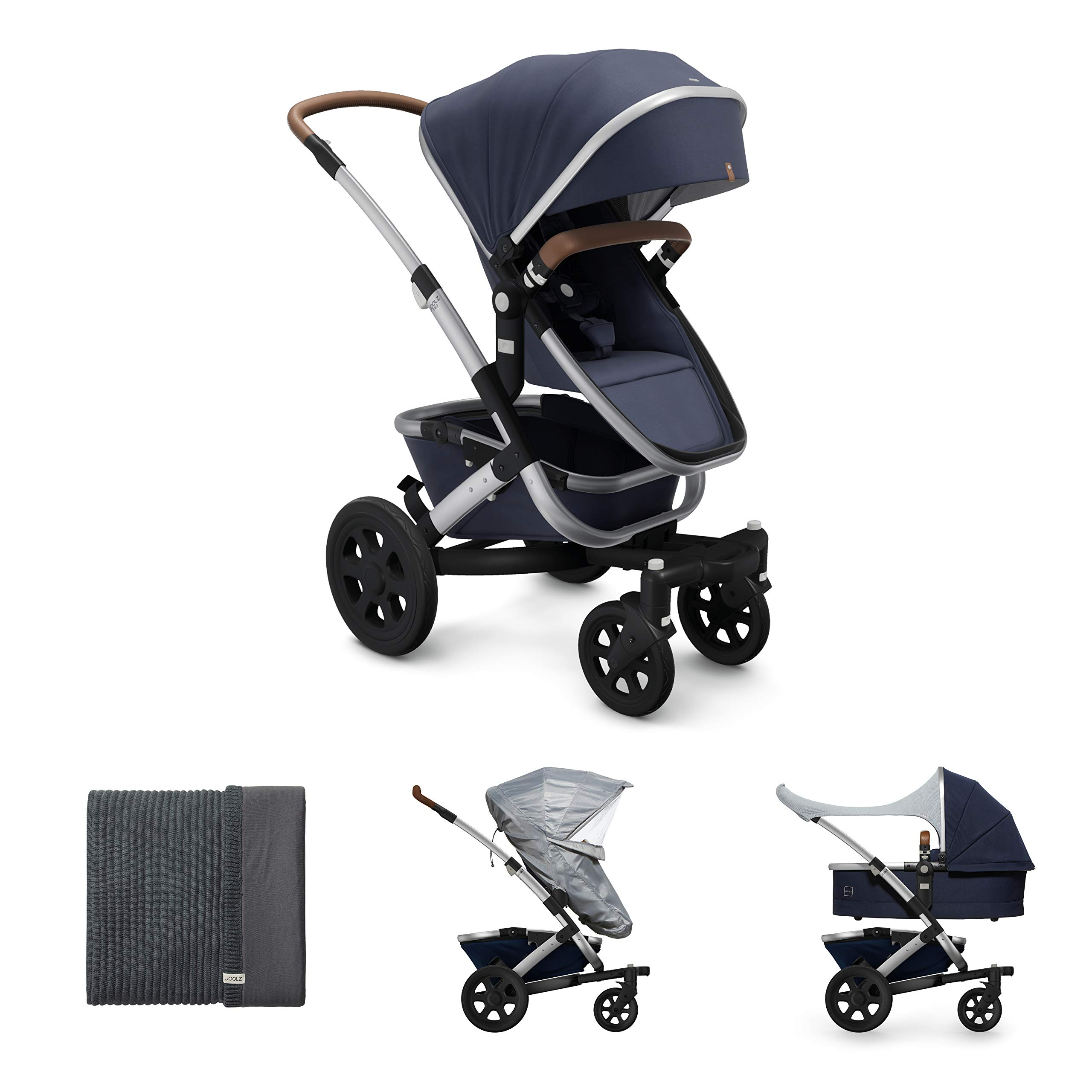 Joolz Geo2 Stroller in Classic Blue with 100% Organic Blanket, Comfort Cover and Rain Cover