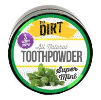 The Dirt All Natural Tooth Powder - Gluten & Fluoride Free Organic Teeth Whitening Powder with Essential Oils | No Added Sweeteners, Artificial Flavors or Colors - Super Mint, 3 Month Supply