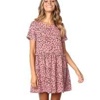 Rvxigzvi Women's Dress for Summer Loose Swing Casual Short Beach Vacation T-Shirt Mini Dress