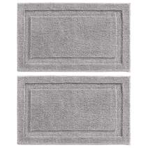 "mDesign Soft Microfiber Polyester Non-Slip Rectangular Spa Mat, Plush Water Absorbent Accent Rug for Bathroom Vanity, Bathtub/Shower - Machine Washable, 34"" x 21"" - 2 Pack - Steel Gray"