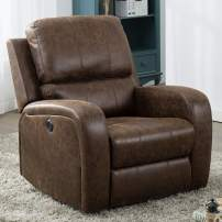 Bonzy Home Power Recliner Chair Air Suede - Overstuffed Electric Faux Suede Leather Recliner Chair with USB Charge Port - Home Theater Seating - Bedroom & Living Room Chair Recliner Sofa (Brown Suede)
