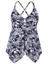 Hilor Women's Flowy Tankini Top A Line Swim Tops Handkerchief Hem Bathing Suit