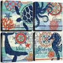 "4 Panel Teal Blue Home Wall Art Decor Framed Artwork for Bathroom Living Room Canvas Print Beach Coastal Sea Turtle Octopus Seahorse Whale Pictures Posters Bedroom Decoration 16 x 16"" / Piece Set"