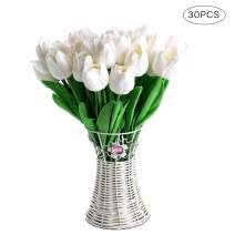 CCINEE 30pcs Real Touch Tulips White PU Tulips Artificial Flowers for Wedding Home Centerpiece Decoration
