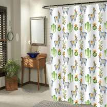 MitoVilla Cactus Llama Shower Curtain, Watercolor Green Succulent Plant and Alpaca Art Painting Living Room Decor, Tropical Bathroom Accessories Set with Hooks, No Liner Needed, 72 x 78 inches