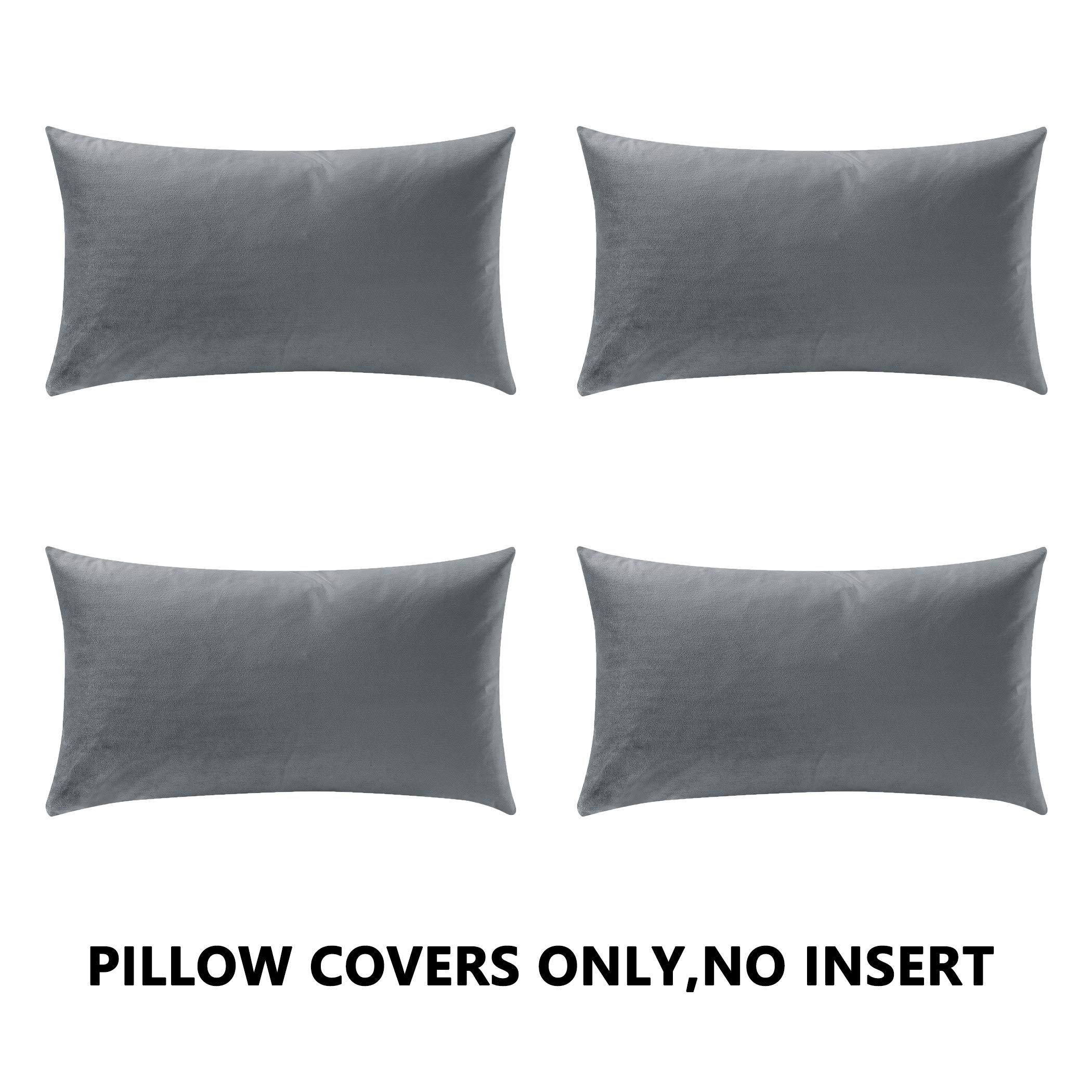 COMFORTLAND New Year/Christmas Decorative Pillow Covers 12x20 Grey: 4 Pack Cozy Soft Velvet Rectangular Throw Pillow Cases for Farmhouse Sofa Couch Bed Chair Home Decor Decorations