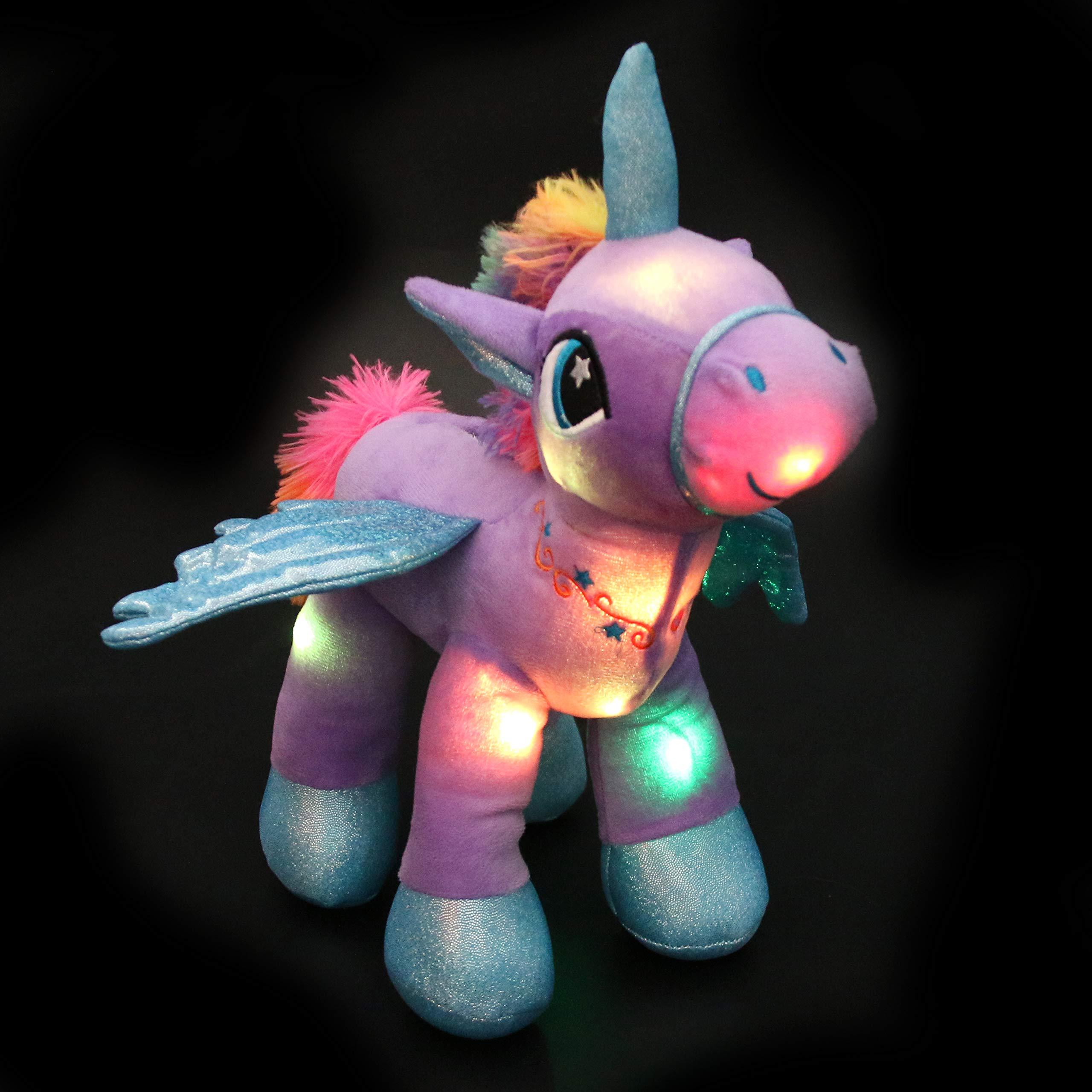 Houwsbaby Glow Unicorn Light Up Stuffed Animal Soft LED Horse Plush Toy Glitter Gift for Kids Boys Girls Companion Pet Holiday Birthday, 14'' (Purple)