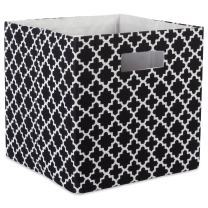"""DII Hard Sided Collapsible Fabric Storage Container for Nursery, Offices, & Home Organization, (11x11x11"""") - Lattice Black"""