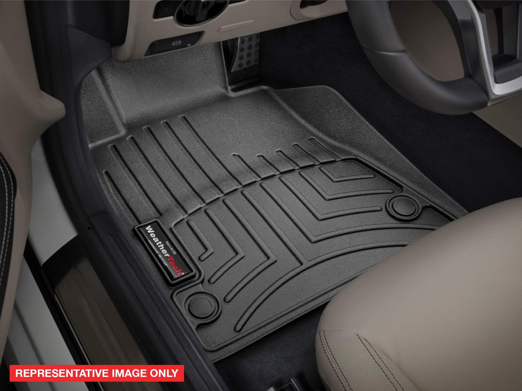 WeatherTech Custom Fit FloorLiner for Honda Pilot/Passport - 1st & 2nd Row (Black)
