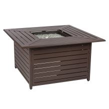 Fire Sense Danang Square 44 Inch Aluminum LPG Fire Pit Table | Mocha Powder Coat Finish | 50,000 BTU Output | Uses 20 Pound Propane Tank | Fire Bowl Lid, Vinyl Weather Cover, and Clear Fire Glass Included | Lightweight Outdoor Heater for All Seasons