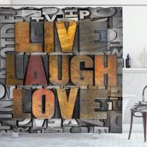"""Ambesonne Live Laugh Love Shower Curtain, Saying Promoting The Values of Human Life in Colorful a Pattern, Cloth Fabric Bathroom Decor Set with Hooks, 84"""" Long Extra, Brown Silver"""