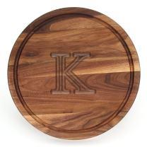 """BigWood Boards W110-K Cutting Board, Monogrammed Cutting Board, Medium Round Cheese Board, Thick Walnut Wood Serving Tray,""""K"""""""